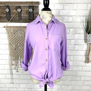 Thread supply lavender button down shirt